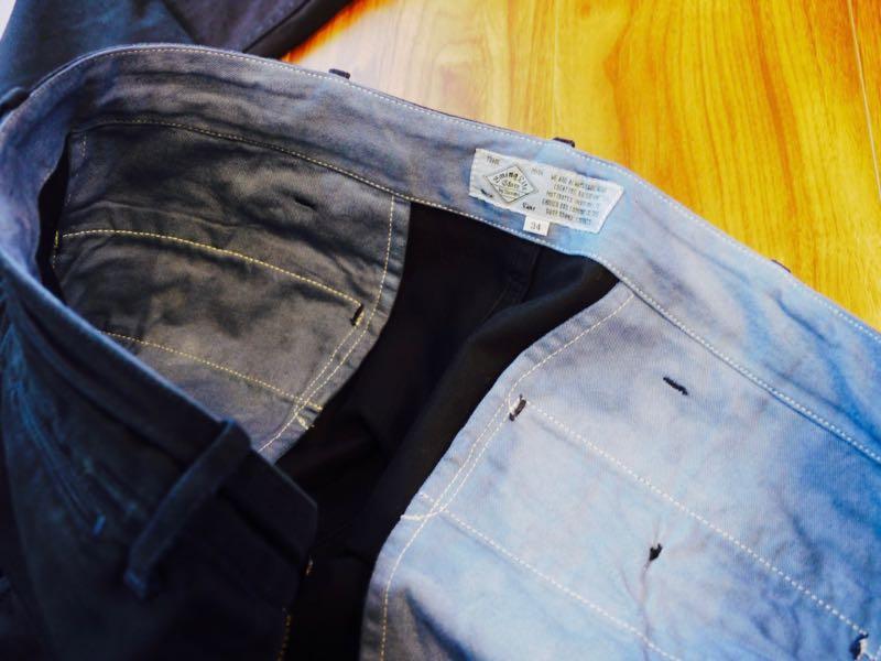 ダイロンで染め直したパンツの仕上がり(裏地のコットンは青く染まりました)