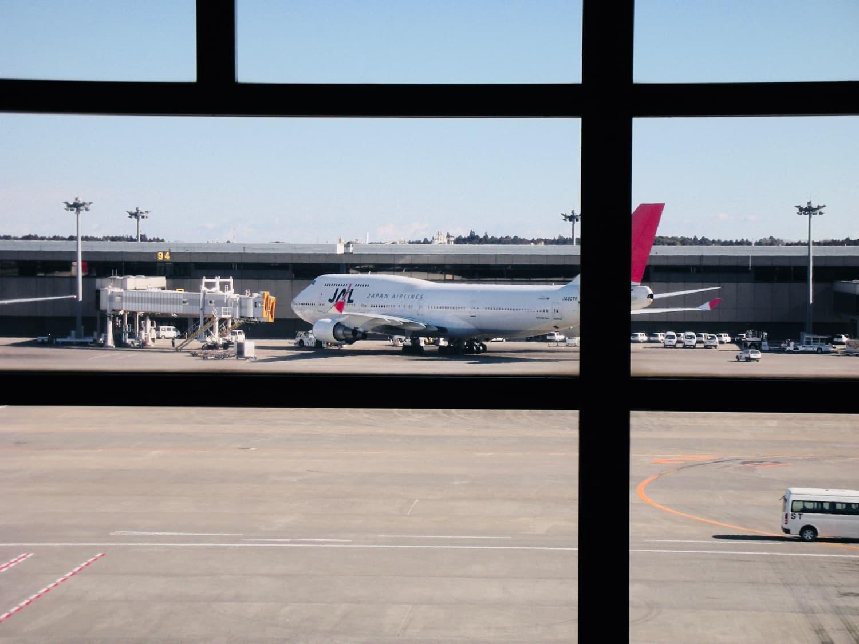 成田からミラノまで乗る飛行機が見えました